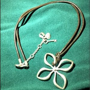 Fossil Leather Cord Necklace w Flower Pendant